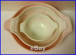 Mid-Century 1950s Pyrex Gooseberry Pink Cinderella Mixing Bowl 3pc Set