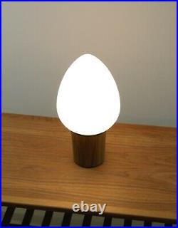 Mid Century 1960 RARE Laurel Egg Glass Shade Metal Veneer Base Table Lamp