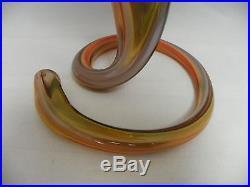 Mid-Century 1960's Murano Vase Hand Blown Art Glass Swirled Base Orange 14