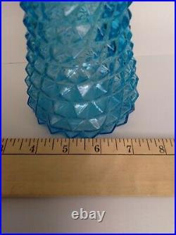 Mid Century 22 Italy Empoli Light Blue Pineapple Diamond Decanter Genie Bottle