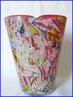 Mid Century A. Ve. M. MURANO Art Glass Anzolo Fuga BISANZIO Tutti Frutti Vase