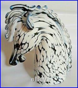 Mid Century Archimede Seguso Murano Art Glass Bianco Nero Horse Head Bust