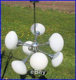 Mid Century Atomic Sputnik Chrome Chandelier 9 Opal balls era Kaiser Sciolari