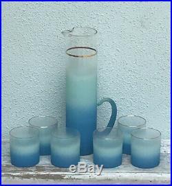 Mid Century Blendo Turquoise Aqua Blue Glass Pitcher Set West Virginia MCM