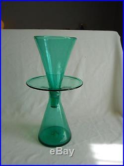 Mid-Century Blenko Art Glass Handblown Large 2 Pc. Green Atomic Vase