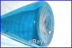 Mid Century Blenko Art Glass Wayne Husted 1956 Aqua Blue Jetsons Decanter #561