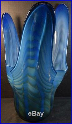 Mid Century Blue Murano Glass Handkerchief Vase