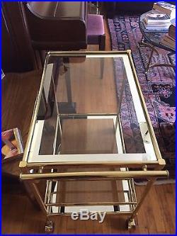 Mid-Century Brass, Glass and Mirrored Hollywood Regency Mastercraft Bar Cart