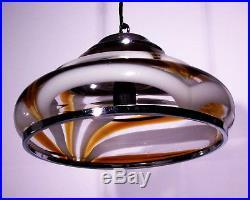 Mid Century Chandelier Mazzega Murano 70s Italian Lamp Vintage Amber Glass Italy