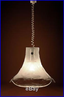 Mid-Century Chandelier Pendant Lamp Thick Ice Glass Petals J. T. KALMAR Austria