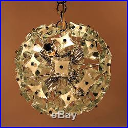 Mid-Century Chandelier Pendant Lamp Thick Sanded Green Glass FONTANA ARTE Italy