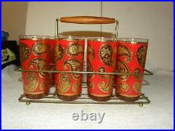 Mid Century Culver Red and Gold Paisley Highball Glasses in Metal Caddy