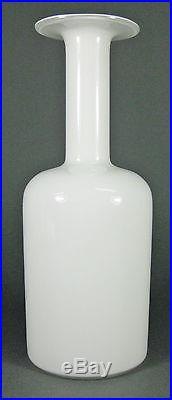 Mid Century Danish Holmegaard White Cased Art Glass Ikebana Gulvase Denmark #1