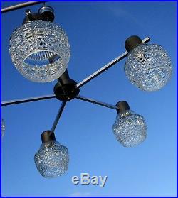 Mid Century Danish Modern Chandelier Chrome Glass Shades Vintage 5 Lights