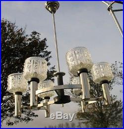 Mid Century Danish Modern Chandelier Chrome Glass Shades Vintage 6 Lights bowls