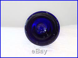 Mid-Century Danish Modern Hadeland Glass Blue Bubble Vase by Willy Johansson