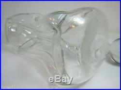 Mid Century Danish Modern'Kluk Kluk' Pinched Bowed Art Glass Liquor Decanter