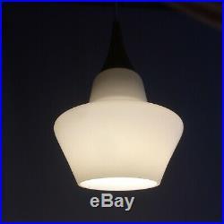 Mid Century Danish Modern White Opaline Glass Teak Pendant Lamp Denmark 50s-60s