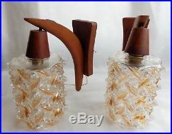 Mid Century Danish Vintage Teak Glass Pair of Wall Light 1960s