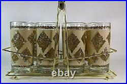 Mid Century Drinking Glasses Set of 8 Hollywood Regency Barware in Caddy