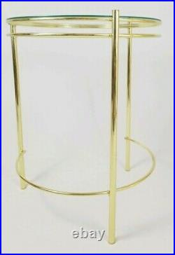 Mid-Century End Table Gold Metal Glass Top Danish Milo Baughman Art Deco Vintage