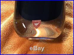 Mid Century Engraved & Label Blue Nils Landberg Sommerso Vase Orrefors #3953/2