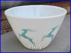 Mid Century Fire King Four Quart White Turquoise Gazelle Mixing Bowl