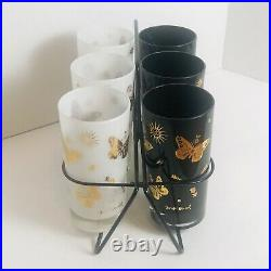Mid Century GEORGES BRIARD Black White Gold Butterfly Highball Glasses Barware 6