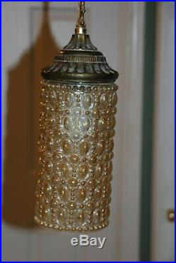 Mid Century Glass Double Swag Hollywood Regency Lamp Chandelier Light