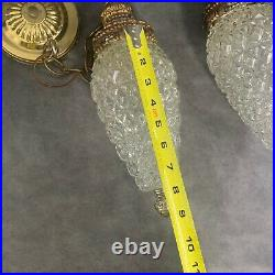 Mid Century Glass Hanging Light Fixture Double Pineapple 2 Swag Lamp MCM VTG