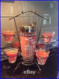 Mid Century Hazel Atlas Dyball Pagoda Cocktail Shaker Glasses Caddy Bar Set