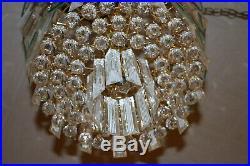 Mid Century Hollywood Regency Waterfall Chandelier Lucite Glass Sciolari Style