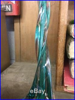 Mid Century Italian Art Glass Turquoise Twist Table Lamp Base