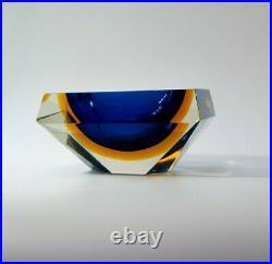 Mid-Century Italian Flavio Poli Space Age Faceted Diamond Murano Bowl Ashtray