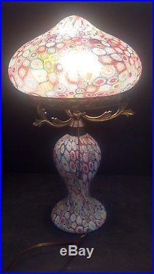 Mid-Century-Italian-Fratelli-Toso-Millefiori-Murano-Glass-Lamp Thousand Flowers