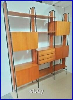 Mid Century Italian Teak wood modular WALL Unit bookcase albini poggi 1950s