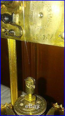 Mid-Century JAHRESUHRENFABRIK SCHATZ 400-DAY ANNIVERSARY CLOCK with Glass Dome