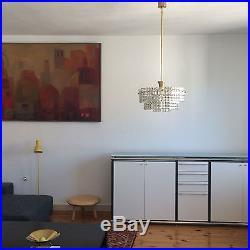 Mid Century KINKELDEY Facetted Crystal Glass 7-LIGHTS CHANDELIER Lamp PALWA Era
