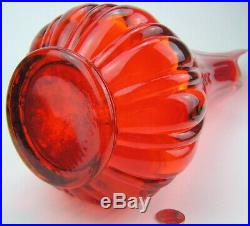 Mid Century L E Smith 26 Orange Amberina Glass Ribbed Swung Floor Vase Viking