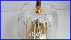 Mid-Century Limburg Brass and Glass Flush Mounts, Kalmar Doria stil, Ice Tulip