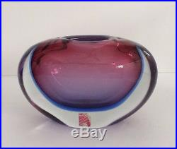 Mid-Century MURANO Sommerso Glass VASE Grand Prize Wold Fair Brussels 1958 Label