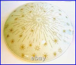 Mid Century Mod Atomic Starburst Gold Shooting Star Glass Light Fixture Cover