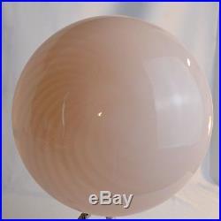 Mid Century Mod Murano Pink Swirl Mushroom Glass Globe Lamp Shade Venini Vetri