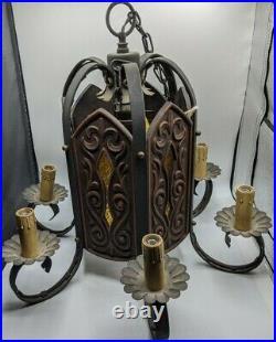 Mid Century Modern Amber Stained Glass Chandelier Light Fixture 6 Lamp Chain VTG
