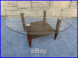 Mid Century Modern Arturo Pani Style Round Glass Coffee Table 32