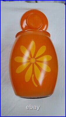 Mid Century Modern Bartlett Collins Orange Sunflower Glass Cookie Jar With Lid