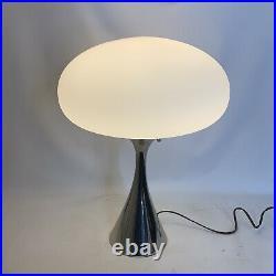 Mid Century Modern Brass with Mushroom White Glass Shade Lamp by Laurel Lamp Mfg