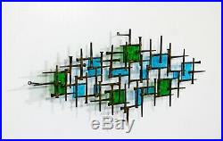 Mid Century Modern Brutalist Metal Stained Glass Nail Sculpture Schmidt Era