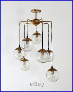 Mid Century Modern Bubbles Chandelier Brass and Glass Ceiling Light Lamp'70s