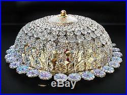Mid-Century Modern Ceiling Lamp Flush Mount Chandelier Crystal Glass Brass PALME